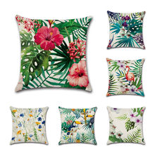 Summer Tropical Plants Cushion Cover Linen Flowers Leaves Flamingo Throw Pillow Case Cover For Sofa Home Decoration Pillowcases