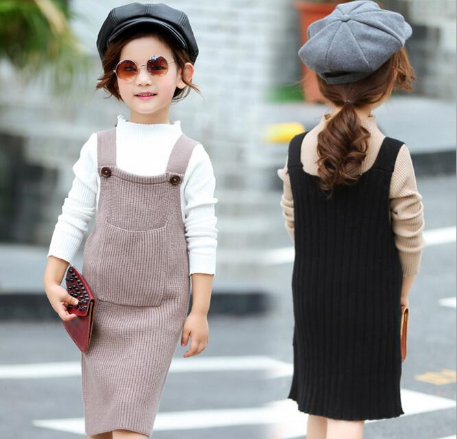 Girls Knitted Dress Sets Children Turtleneck Long Sleeve Sweater+Suspenders Two Piece Dress Sets Kids Casual Dress Suits 2017 new design reborn doll cloth body vinyl silicone soft real gentle touch fashion gift for kids on children s day