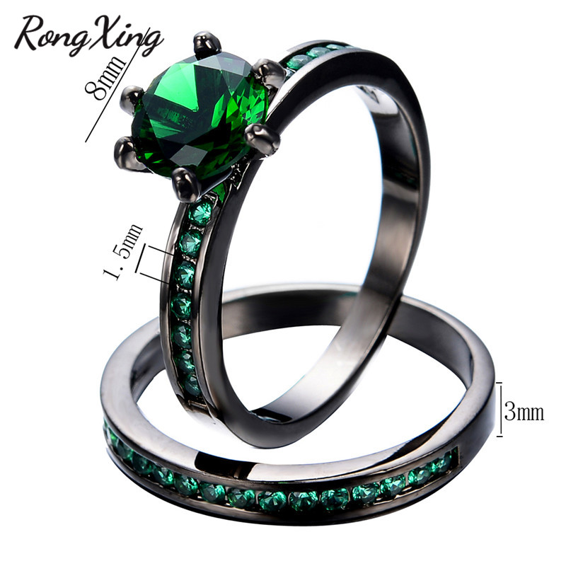 Rongxing Elegant May Birthstone Wedding Ring Set Women Fashion Jewelry Black Gold Filled Engagement Rings Bijoux Femme Rb0549 In Bands From