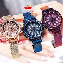 Вращающаяся поверхность женские часы с магнитной пряжкой женские наручные часы розовое золото минимализм модные роскошные женские часы водонепроницаемые 2019