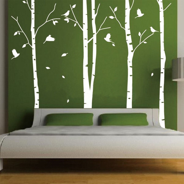 Huge White Tree Wall Sticker Decor Living Room Vinyl Wall Decals   Birds  Wallpaper   Set