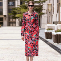 VERDEJULIAY Women Skirt Sets 2020 Summer Long Sleeve Short Jacket + Midi Skirt Jacquard Red Rose Printed Skirt 2 piece sets