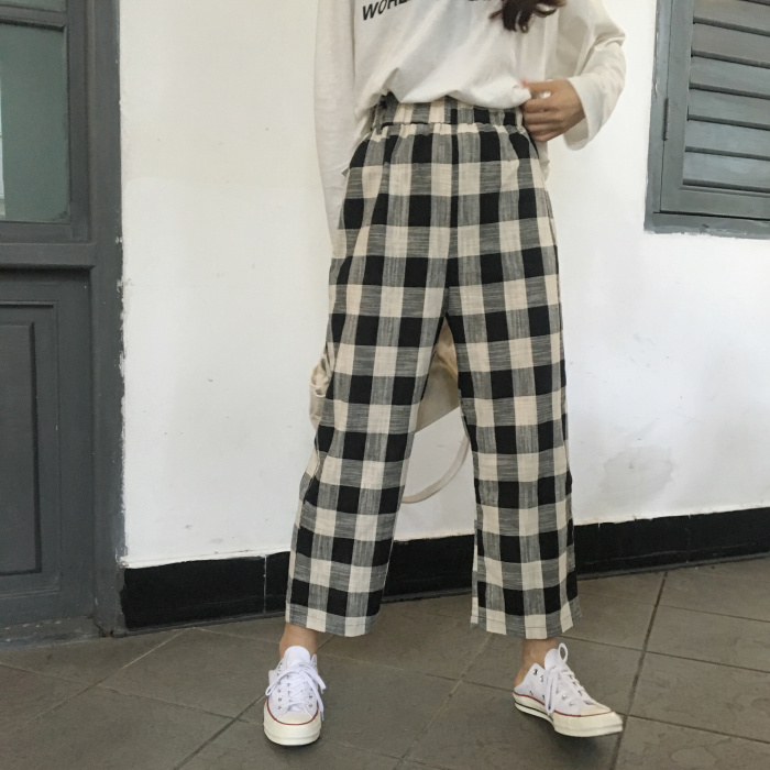 YouGeMan Spring Autumn Pantalones Korean Style Ulzzang Harajuku Patchwork Plaid   Wide     Leg     Pants   Women Casual High Waist Trousers
