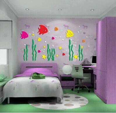 Новое поступление Мультяшные рыбки акриловые с изображением подводного мира 3D настенные наклейки для детской комнаты спальни ТВ стены DIY художественные декоративные наклейки