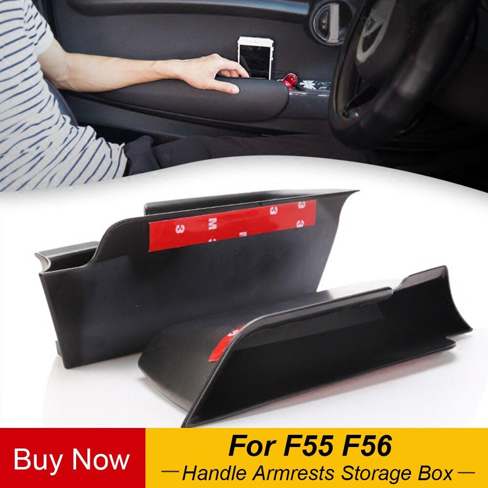 2 sztuk/zestaw samochodów wewnętrzna strona frontowe drzwi uchwyt podłokietniki schowek ABS tacka dla Mini Cooper F55 F56 akcesoria samochodowe do stylizacji