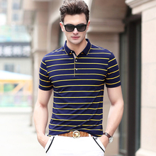 100% Cotton Men's Clothing Fashion Polo Shirt Vertical Striped Short Sleeve Cotton Polo for Summer Brand Polo New 8018