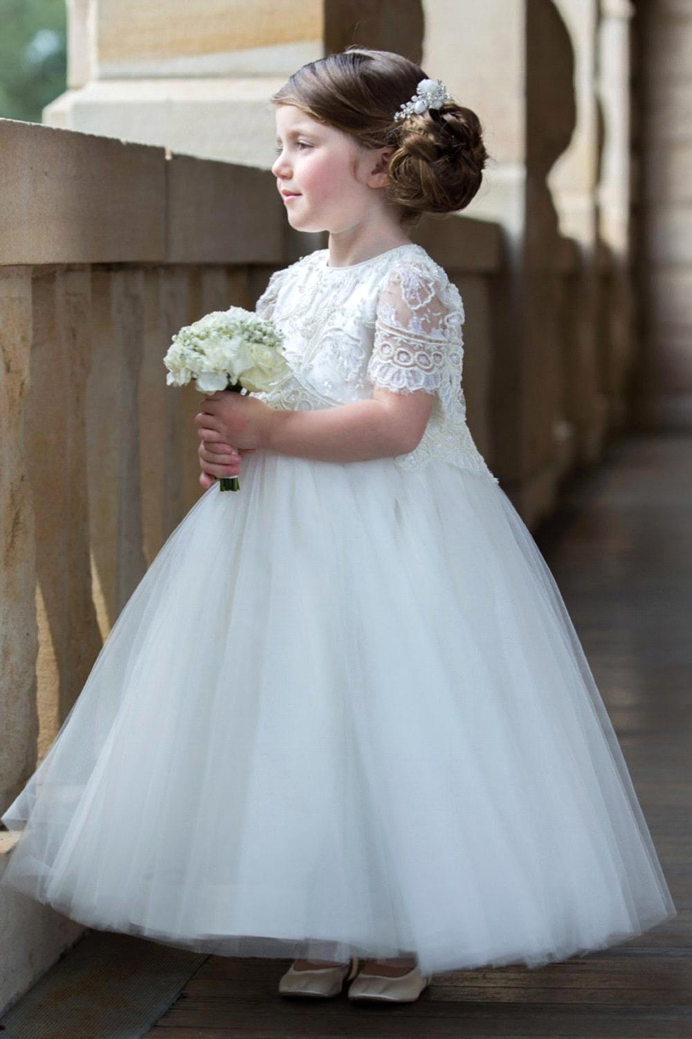 Cute White/Ivory Ball Gown Lace Flower Girl Dresses 2017 For Wedding ...