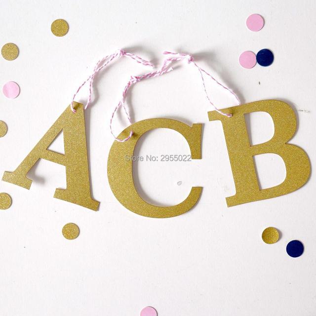 Custom Monogram Glitter Gift Tags Initials Gold Gift Tags Alphabet