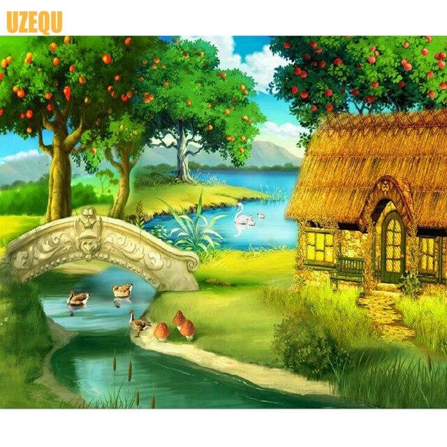 Uzequ 5d Diy Berlian Lukisan Kartun Lukisan Pemandangan Cross Stitch