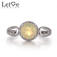 Leige Jewelry Opal White Color Gemstone Round Cut Prong Setting Engagement Halo ring Wedding Band 925 Sterling Silver
