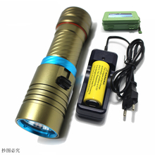 New 2000 Lumens Cree XM-L2 LED Diving Flashlight Torch 100M Underwater Waterproof Scuba Lantern + 26650 Battery + Charger+box