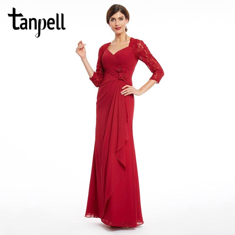 cdad3a54 Tanpell tre fjerdedeler ermer kjole v nakke burgunder blomster ...