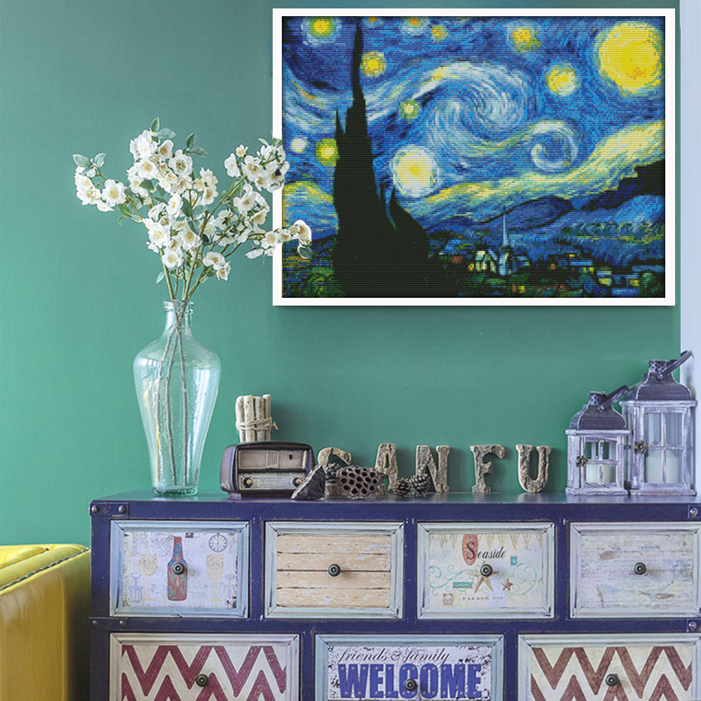 Van Goghs Starry Night Printed Canvas DMC Counted Kinesisk Cross Stitch Kits Trykt Korssting Set Broderi Needlework