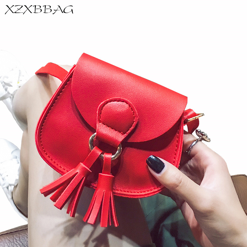XZXBBAG Children Fashion Tassels Mini Messenger font b Bags b font Girl PU Leather Coin Purse
