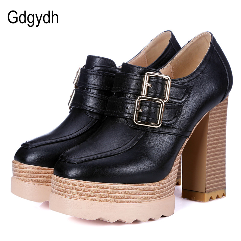 Gdgydh Spring Autumn Thick High-Heeled Shoes Pumps Woman Round Toe Lacing Female Platform Shoes Casual Office Ladies Shoes 42