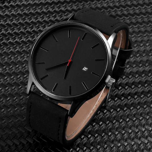 Fashion Simple Mens Watches Complete Calendar Wristwatch Gents Business Brown Le
