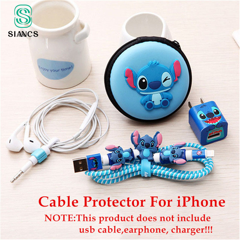 Cartoon Cute Earphone Cable Protector USB Cable Winder Cover Organizer Case Shell For Apple IPhone 5 5s 6 6 7plus Cable with Box cute marshmallow style silicone back case for iphone 5 5s yellow white