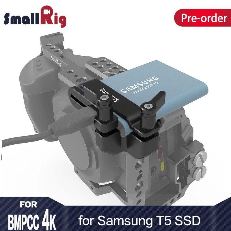 SmallRig Mount for Samsung T5 SSD for Blackmagic Design Pocket Cinema Camera 4K SmallRig cage 2245 smallrig mount for samsung t5 ssd card holder mount compatible with smallrig cage for bmpcc 4k 2203 2245