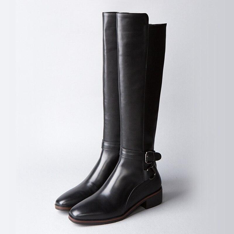 Hautes Enmayer Vache Cuir Femmes Marque Grande Black En Pour De Chaussures Taille D'hiver Zyl864 grey Supérieure Qualité Bottes 1IR1q