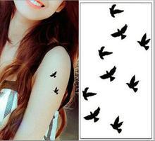 Tattoo Sticker Bird Black Small 10x6cm Pure Color Tattoo Long Last Man Woman