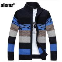Aismz Men's Knitted Sweaters Cardigans Collar Winter Wool Sweater Fashion Cardigans Male Sweaters Coat Brand Men's Clothing
