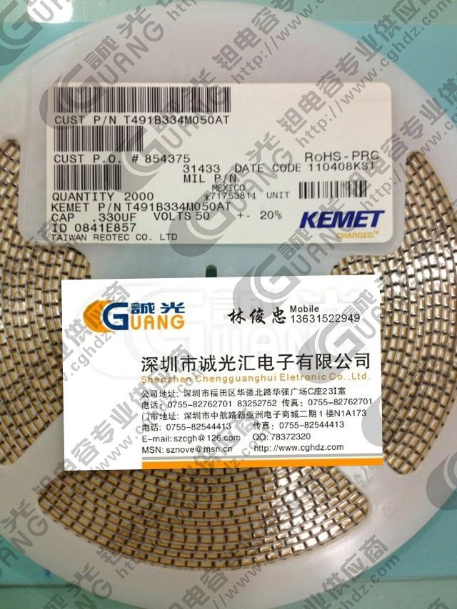 T491B334M050AT 0.33 МКФ/50 В B Тип: 3528-19 KEMET танталовые конденсаторы