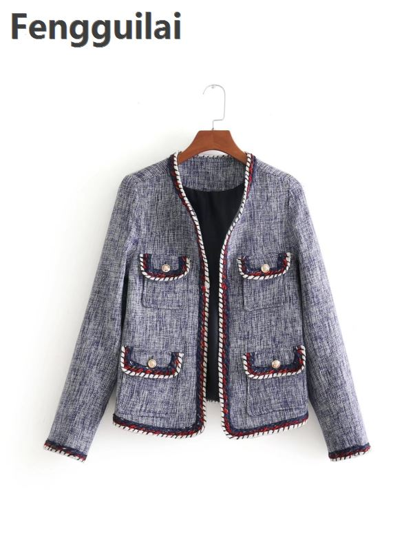 Fashion Wind Small Fragrant Coat New Autumn Winter Color Line Suit Trim Body Tweed Women