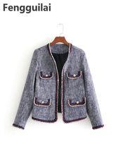купить Fashion Wind Small Fragrant Coat New Autumn Winter Color Line Suit Trim Body Small Fragrant Wind Tweed Coat Suit Women по цене 1115.05 рублей