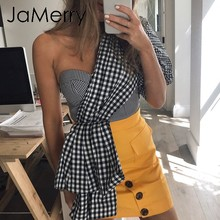 JaMerry Vintage sexy een schouder plaid vrouwen camis Zomer bladerdeeg mouw splice crop tank tops Streetwear fashion party hemdje(China)
