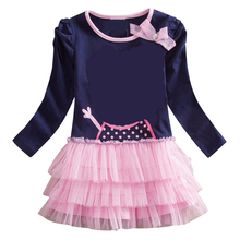 classic new baby girls long sleeve clothes tutu dress printing pattern children cotton kids clothing long sleeve girls dress new girls dress new style cotton applique embroidery long sleeved girls dress kids casual clothes brand children clothes 1 6yrs