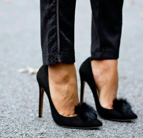 2017 New Fashion Black Suede Leather Women Pom Pom Pumps Pointy Toe Ladies Slip On High Heels Red Patent Leather Female Stiletto pom pom front zipper design stiletto heels