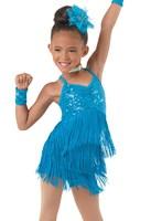 Girls Kids Children Modern Ballroom Latin Dance Dress Green Fringe Salsa Tango Dance Wear Blue Red Green Performance Stage Wear