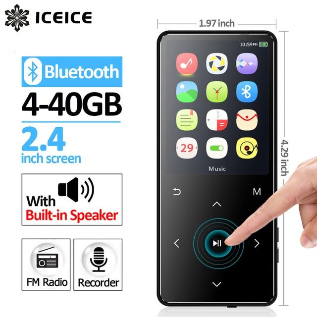 ICEICE MP4 נגן Bluetooth עם רמקול MP3 MP4 מוסיקה נגן נייד MP 4 מדיה Slim 2.4 אינץ מגע מפתחות FM רדיו וידאו Hifi