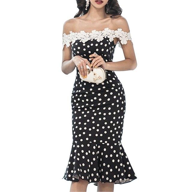 c64f8250a7 2019 Summer Women Korean Fishtail Dress Sexy Off Shoulder Lace Crochet Dress  Polka Dot Print Long Sleeve Bodycon Sheath Dresses