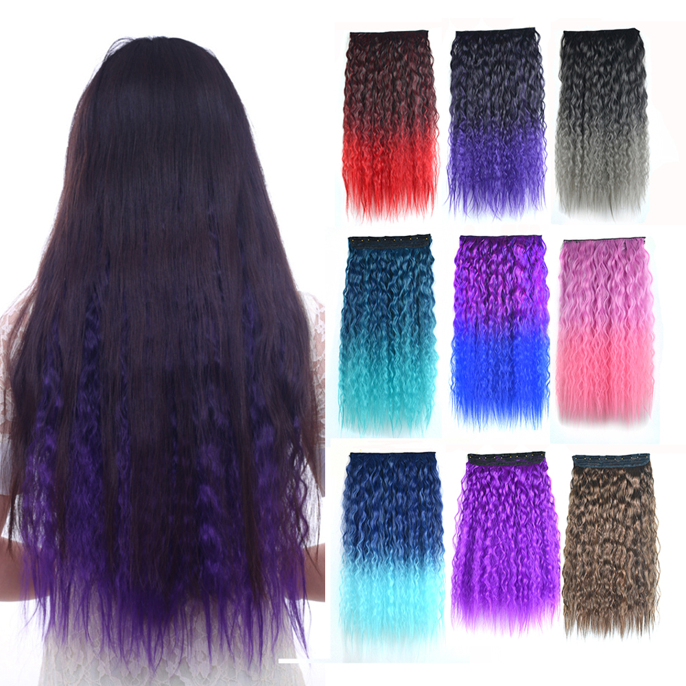 Blonde Unicorn Hair Extension Ombre Clip In Long Water Wavy Hairpiece 5 Clips Synthetic Fiber 15 Colors Available For Womens Hot