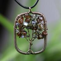Dropship Men Tree Of Life Quartz Pendant Necklaces Women Natural Stone Wisdom Tree Choker Necklace Jewelry