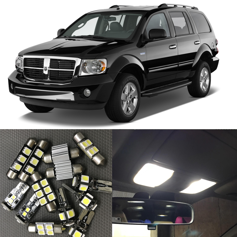 9pcs Canbus White Car LED Light Bulbs Interior Package Kit For 2000-2009 Dodge Durango Map Dome License Plate Lamp Car Stryling бампер передний на renault clio 2001