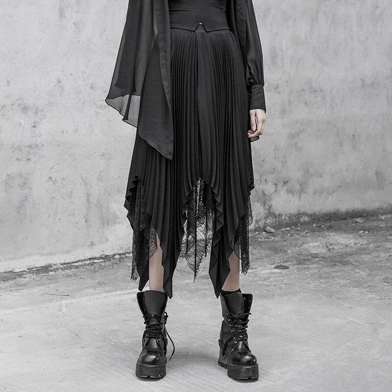 PUNK RAVE nouvelles filles jupe plissée irrégulière mode taille haute en mousseline de soie noire dentelle demi-longueur Club fête jupe