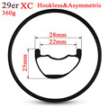 29er Mountain Bike Carbon Rim Tubeless Ready For XC Cross Country Wheels 28mm Width Asymmetric Style Rims Light Weight 360g