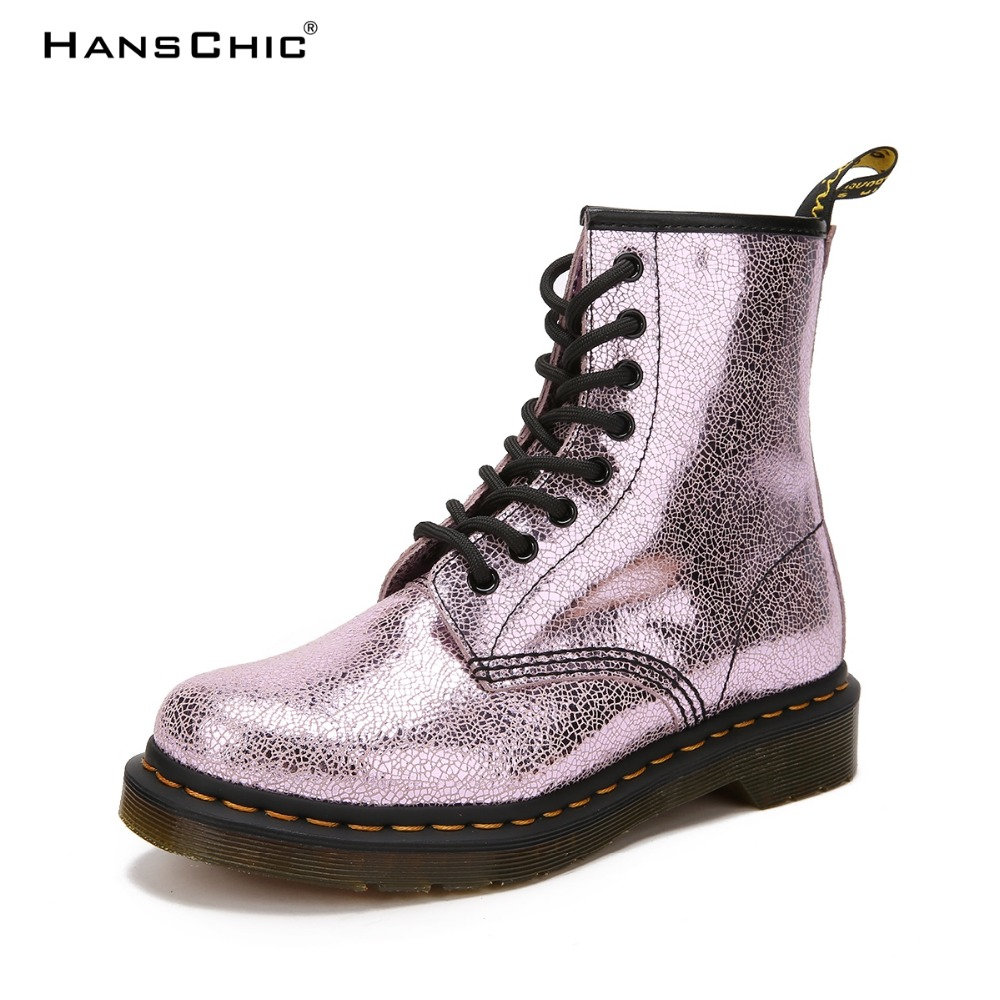 HANSCHIC 2017 Plus Size Mirroed Purple Special Design Martin Style Female Women Real Cow Leather Boots for Female TS-827 the purple cow магнитная игра магнитные буквы английские the purple cow