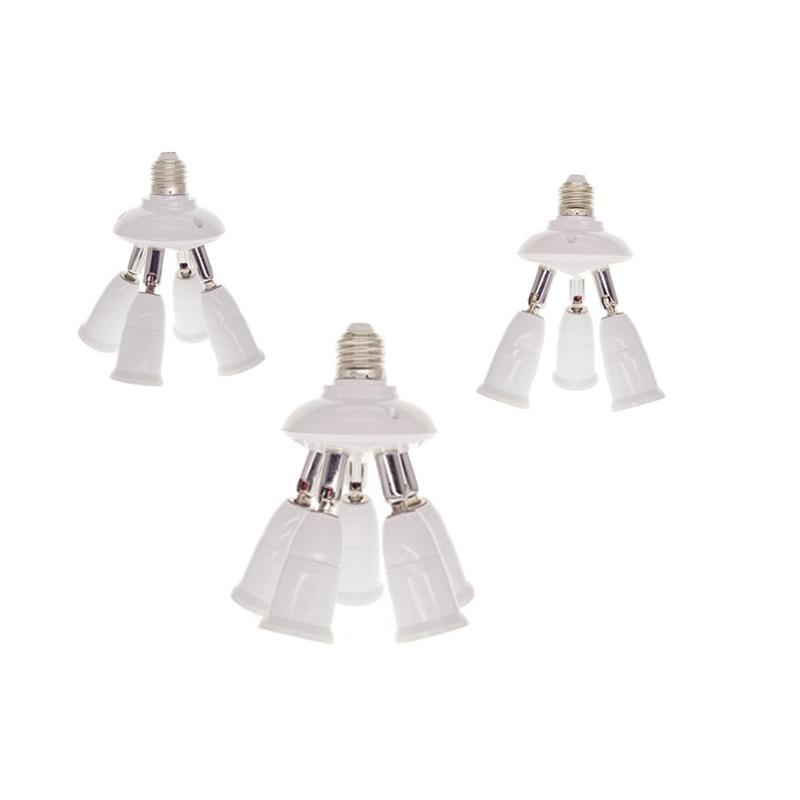 Adjustable E27 Splitter 3/4/5 Heads Lamp Base LED Light Bulb Holder Adapter Converter Socket 85-285V Flexible Rotation Lamp Base