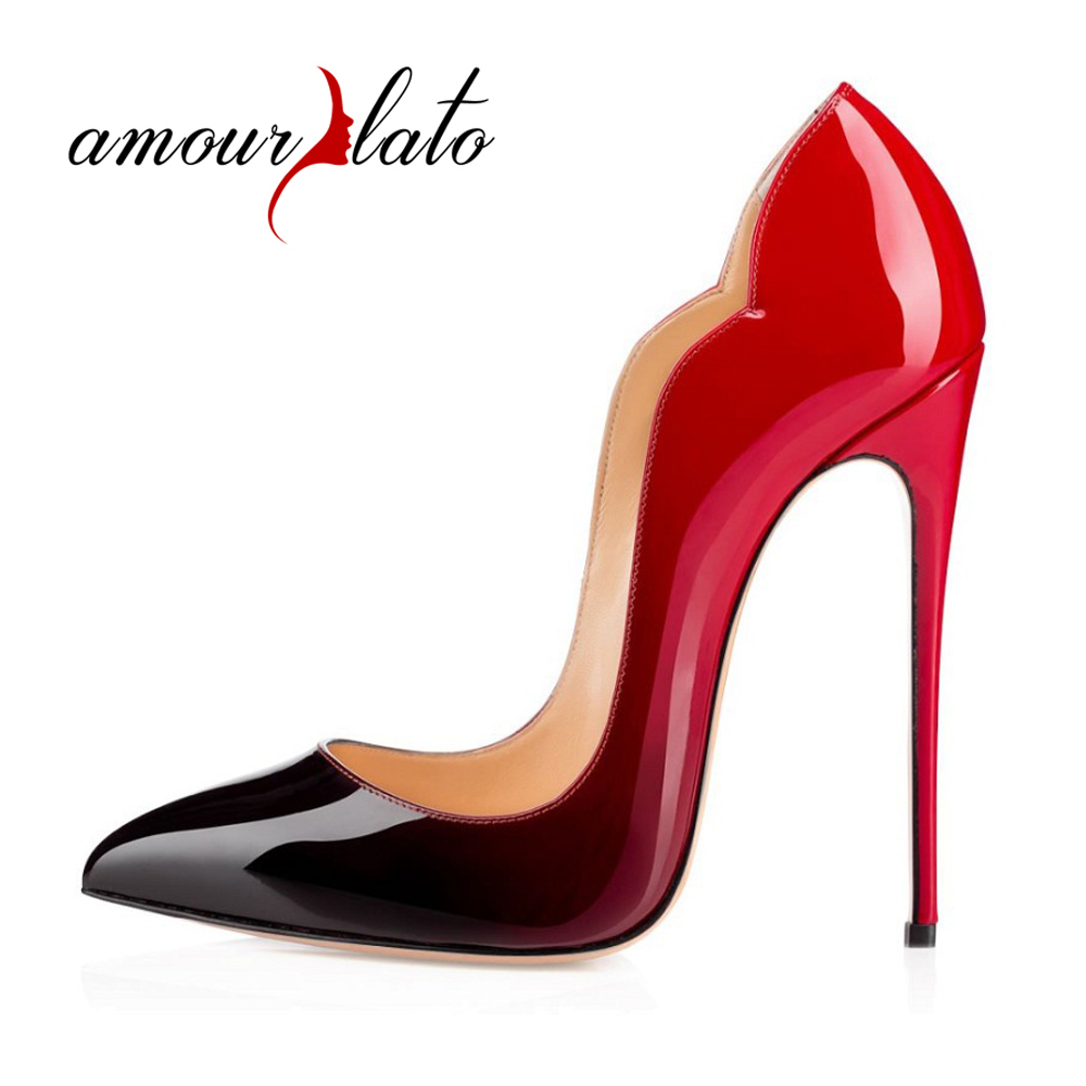 Amourplato Women's High Heel Cut-out Patent Pumps Pointed Toe Party Dress Thin Heels  Stiletto Shoes Closed Toe 12cm Height amourplato women s fashion pointed toe high heel sandals crisscross strap pumps pointy dress shoes black purple size5 13