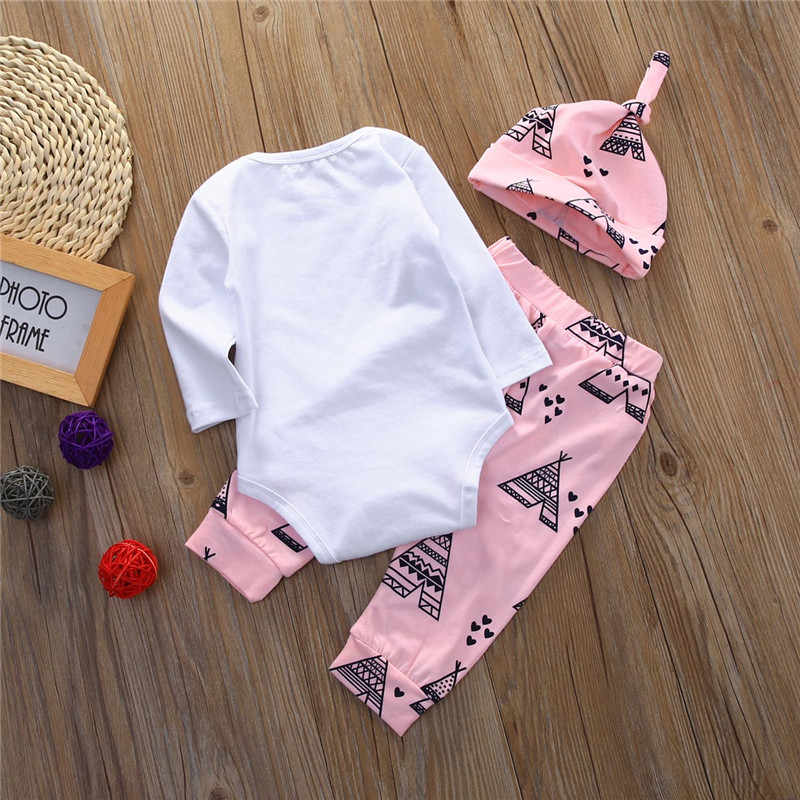 1345d50a1baa ... Newborn Baby 3pcs Tops Romper Clothes Sets Long Sleeve Hello World  Autumn Clothes Wear 3PCS Cute ...