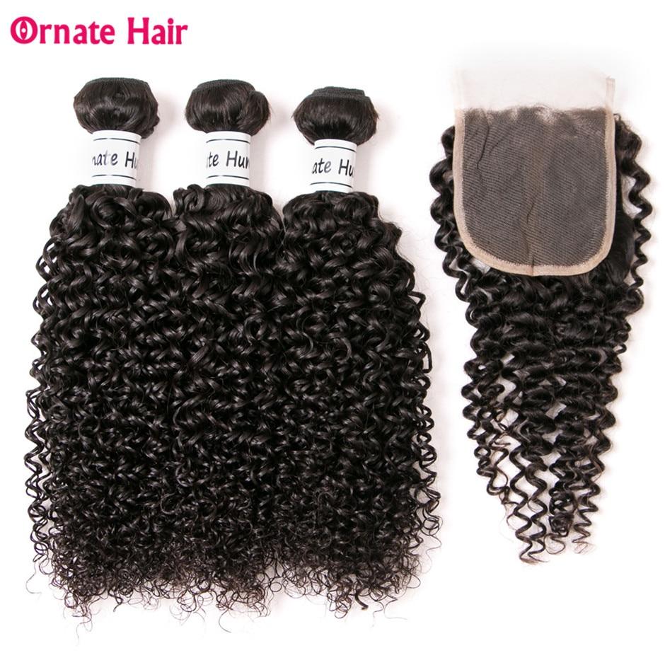 Ozdobne włosy z Malezji z zamknięciem 3 wiązek Kinky kręcone włosy do przedłużania ludzkich włosów z zamknięcia naturalny kolor nie Remy włosy w 3/4 pasma z siateczką od Przedłużanie włosów i peruki na AliExpress - 11.11_Double 11Singles' Day 1