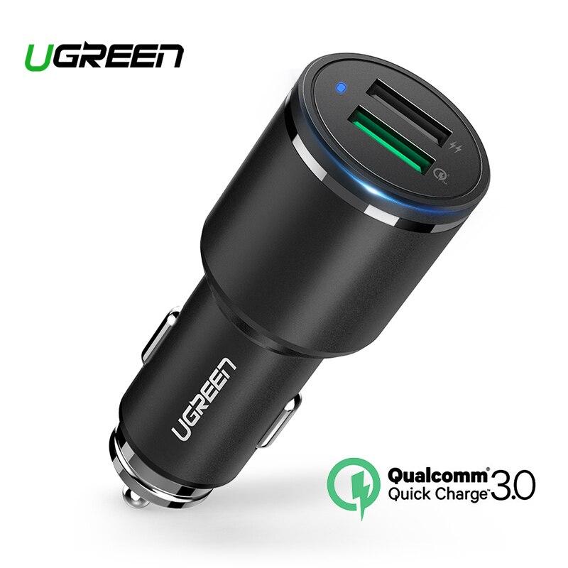 Ugreen cargador de coche Dual USB carga rápida 3,0 para iPhone X 8 QC 3,0-cargador para Samsung Galaxy s9 rápido cargador de teléfono para LG