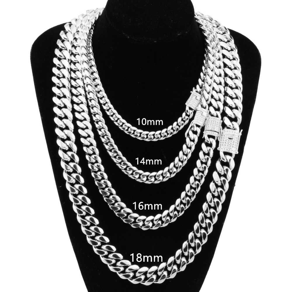 8-18MM Wide Stainless Steel Miami Cuban Curb Chain White Rhinestone Clasp Mens Womens Silver Necklace Or Bracelet Jewelry 7-40''