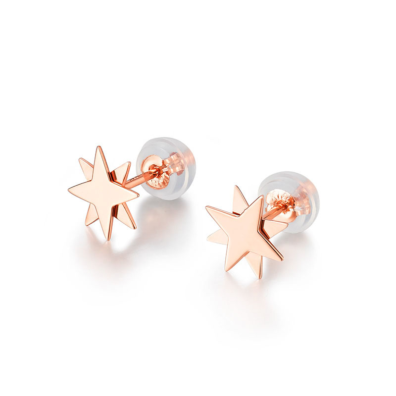 New AU750 Rose Gold Star Stud Earrings Women Stud Earrings цена