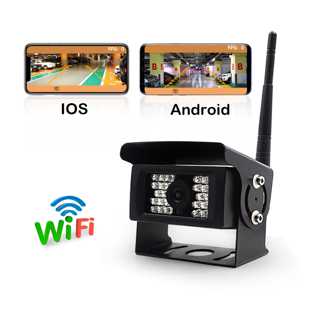 Car wifi rear view camera for bus truck camper trailer vehicle with iphone/ios andriod devices