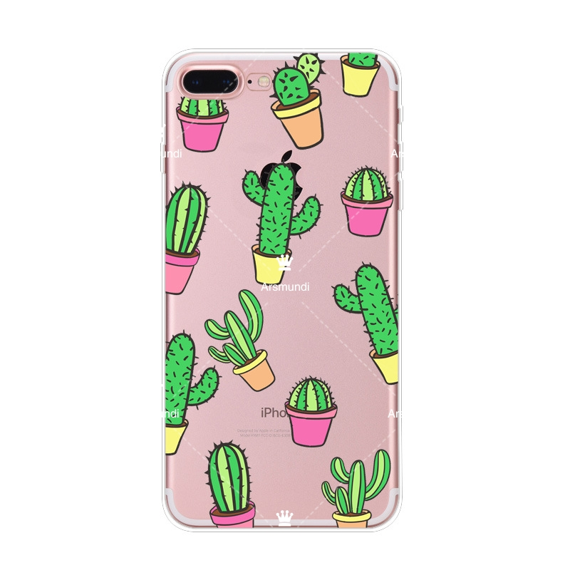 2018 Summer Cactus Banana Leaves Green Plant For Iphone 6S 7 8 Plus X For Oppo Case Crystal Clear Soft TPU Cover Cases