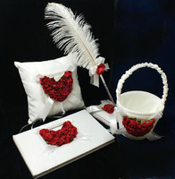Free shipping,Set of 4pc Red and white Satin Rose Heart Wedding Guest Book Ring Pillow Flower Basket Feather Pen Holder Set
